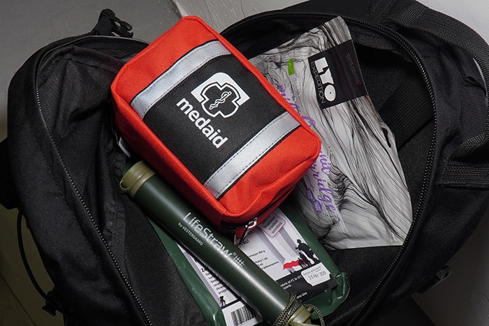 Valuable emergency equipment - first aid kit, water filter, food rations