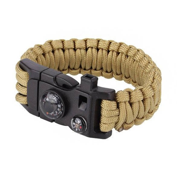 101 Inc Paracord Survival Bracelet With Comp Thermometer Whistle And Firestarter 9 Coyote Jyfpb02
