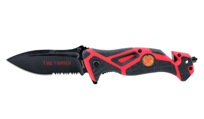 Martinez Albainox - Folding Fire Fighter FOS rescue knife with pouch -  18348-A