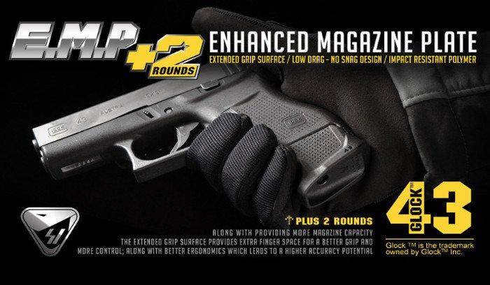 Strike Industries - Enhanced Magazine Plate for Glock 43 - SI-EMP-G43-BK