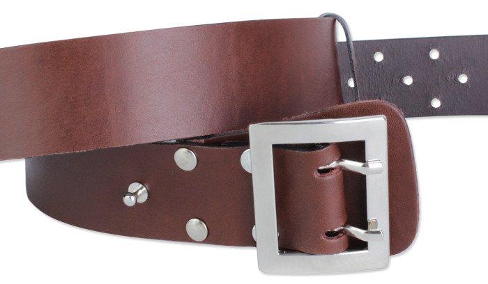 TRK - Leather Military Belt - Brown