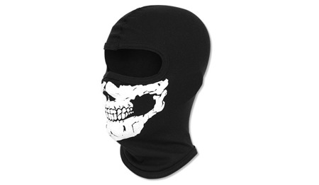 Cotton Balaclava - 1 Hole - Black - Skull