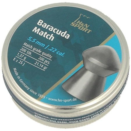 H&N - Sport Baracuda Match Airgun Pellets - .22 / 5.52 mm - 200 pcs - 92285520003