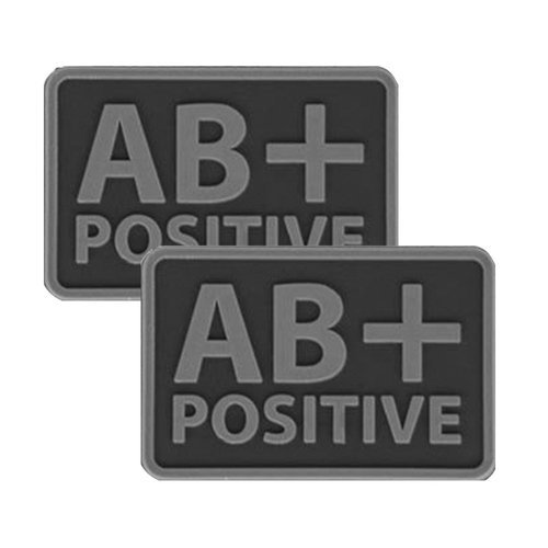 Helikon - PVC Patch - Blood Type - AB+ POS - Black - 2pcs