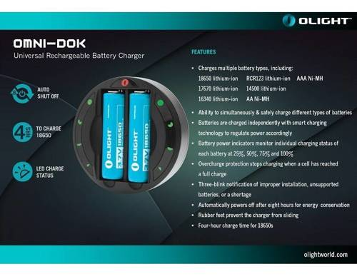 Olight - Universal Rechargeable Battery Charger Omni-Dok II