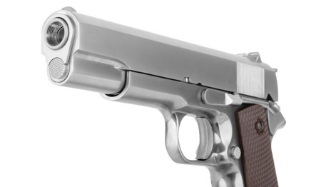 WE - 1911 Matte Chrome Pistol Replica - Full Metal - Checker Grip