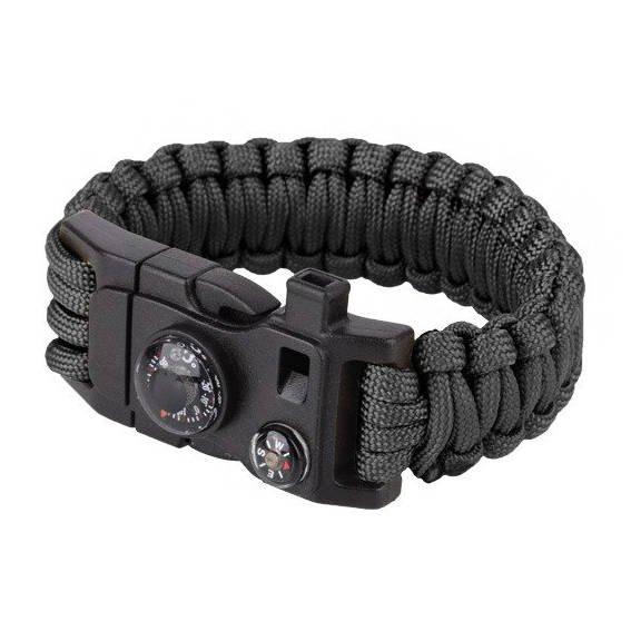 Feuerstarter Paracord Universal Armband Kompass Pfeife Survival in schwarz