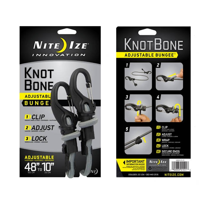 """2-Pack Nite Ize KnotBone Adjustable Bungee Small 5mm 6/""""-28/"""" w// Carabiner Clip"""