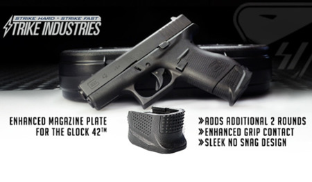 Strike Industries - Enhanced Magazine Plate for Glock 42 - EMP-G42 BLK