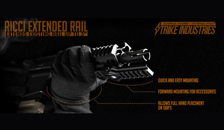 Strike Industries - RICCI Extended Rail Section - Black - RICCI-ERS